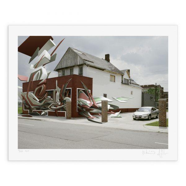 "Mirko Reisser (DAIM), Andreas Gehrke | ""DEIM - corner to corner in Detroit01"" | Giclée FineArt Print (with UltraChrome K3 pigment-ink) on Hahnemuehle, Photo Rag 310 gsm bright white acid free Paper | 33,6 x 43,3 cm / 13.2"" x 17"" (Paper size: 40 x"