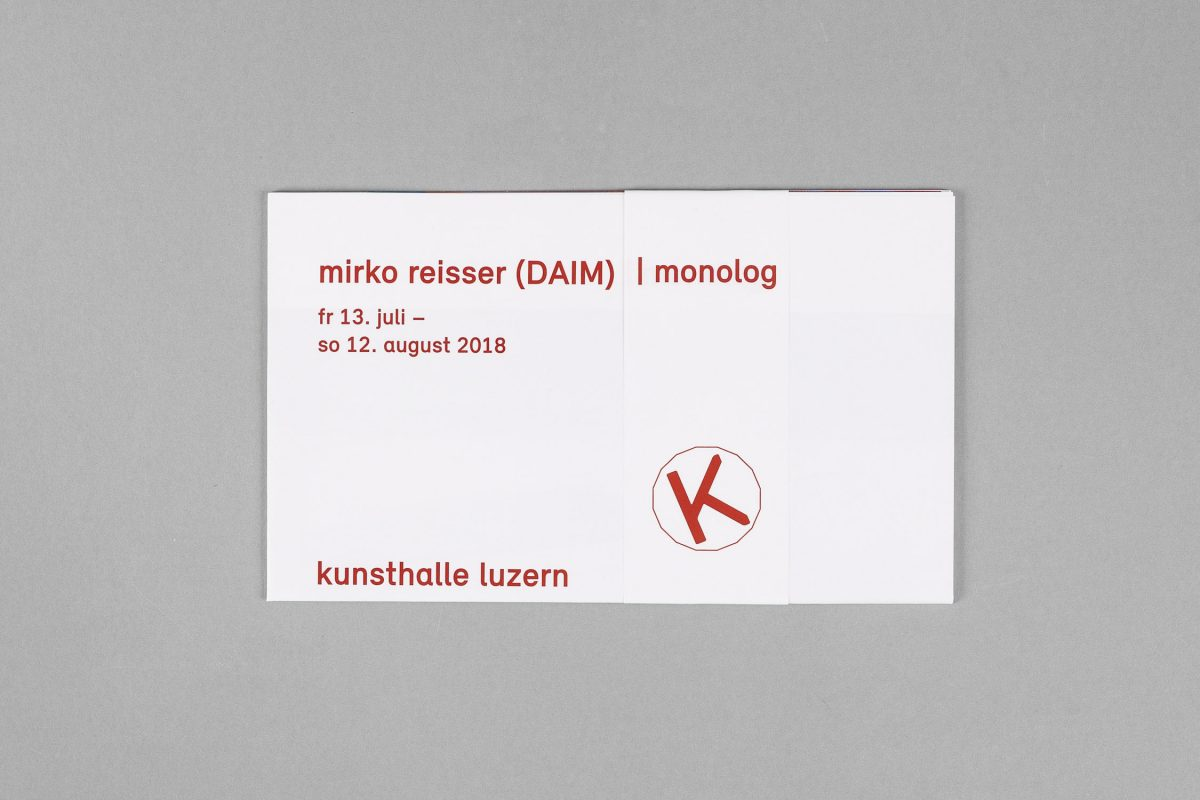 Michael Sutter (Ed.); Mirko Reisser (DAIM): ''mirko reisser (DAIM) | monolog''. Original Edition. Folded poster with sleeve and extra flyer, German. Kunsthalle Luzern, Luzern, Switzerland (2018). 15 x 25 cm / 5.90 x 9.84 inch (Unfolded: 30 x 75 cm), full color pages digitalprinted. Photographs: Kilian Bannwart. Artdirection: Shannon Zwicker. | Courtesy: Kunsthalle Luzern | © Kunsthalle Luzern, Michael Sutter, Mirko Reisser (DAIM)