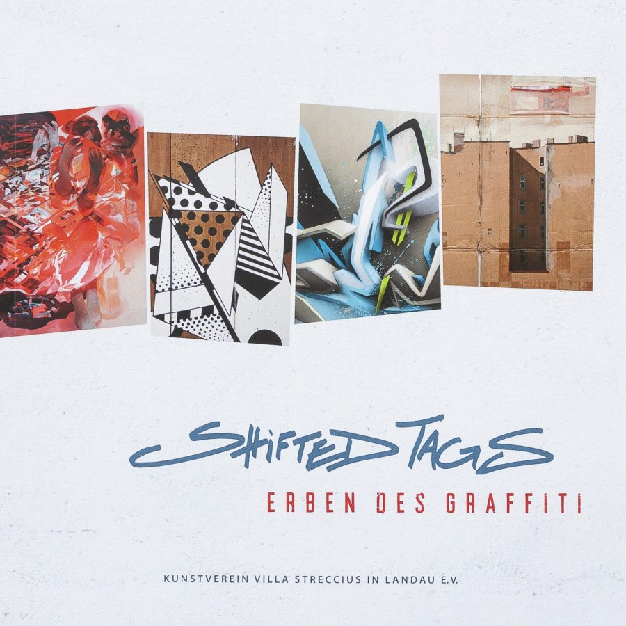 Christine Schön (Aut.): ''Shifted Tags: Erben des Graffiti''. Original Edition. Paperback, German / English. Kunstverein Villa Streccius in Landau e.V., Landau, Germany (2018). 21 x 21 x 0,7 cm / 8.26 x 8.26 x 0.27 inch, 82 full color pages offset printed. Artists: Mirko Reisser (DAIM), Robert Proch, Till Heim (SIGN), Tore Rinkveld (EVOL). | Courtesy: Double-H Archive | © Kunstverein Villa Streccius in Landau e.V., the authors and artists | Photo: MRpro