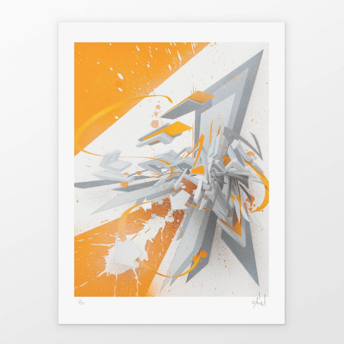 DAIM | ''DAIMaround -  Dynamic splash with orange'' | Giclée FineArt Print on 290 gsm Moab Rag Natural Paper | 40,64 x 30,48 cm / 16 x 12 inch | 2019 | Edition of 50 + 5 AP + 3 PP, handsigned, numbered and with Certificate of Authenticity of 1xRUN | © DAIM | Courtesy: 1xRUN
